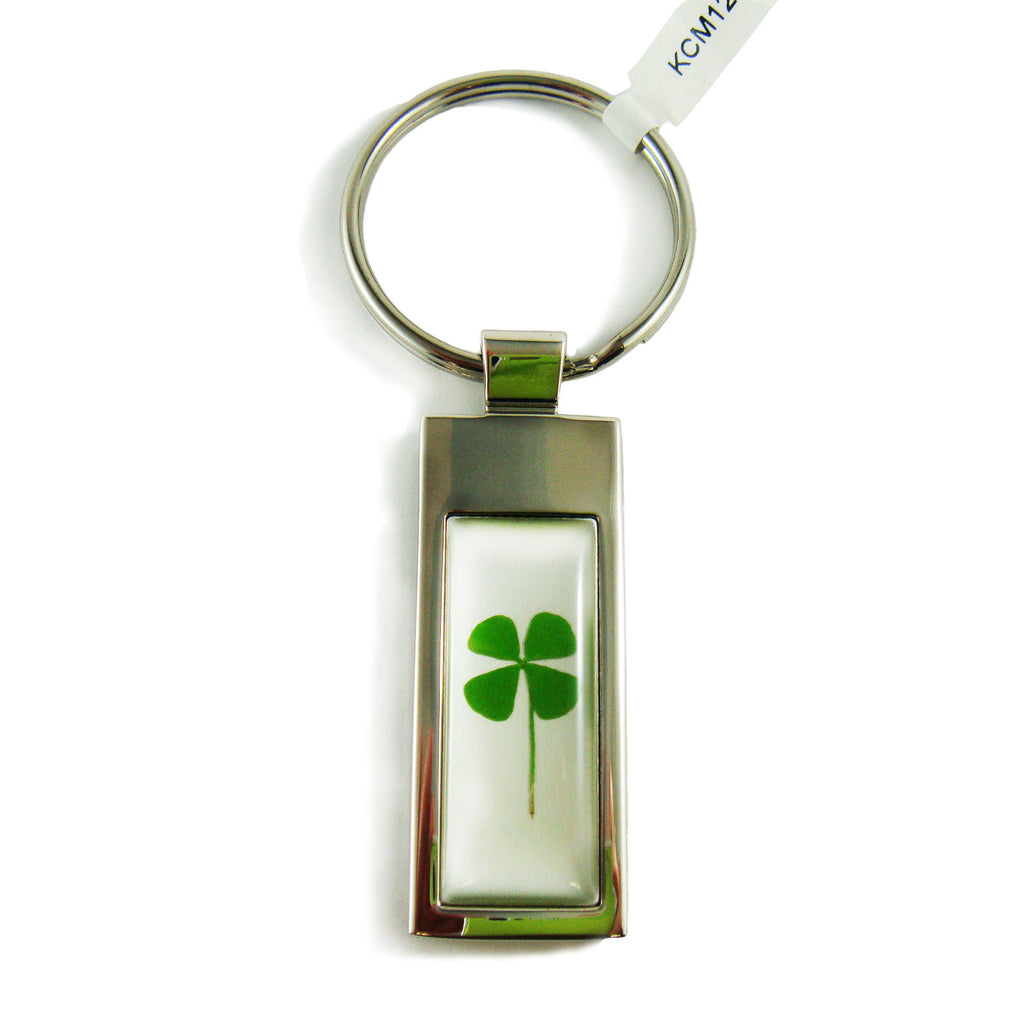 Real Lucky Clover Keychain Rectangle Shaped (KCM12)