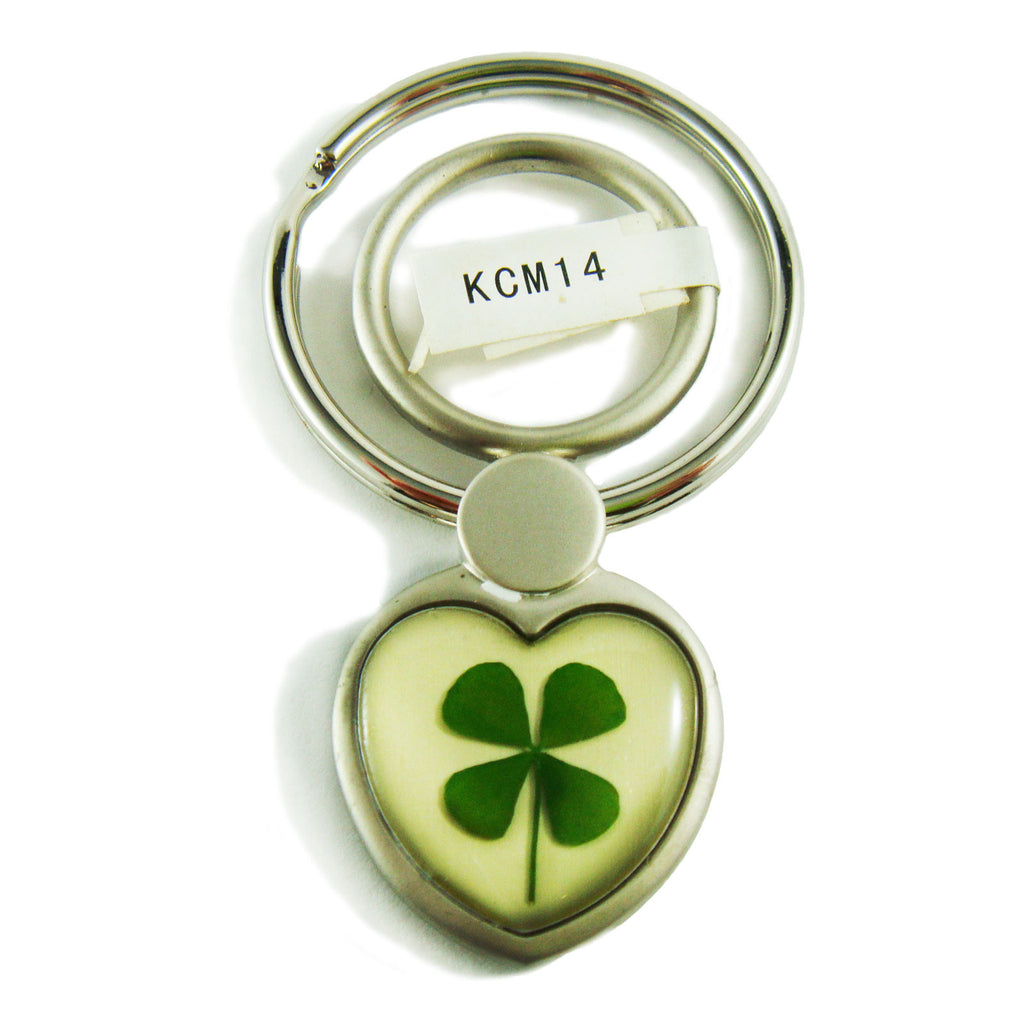Real Lucky Clover Keychain Small Heart Shaped (KCM14)