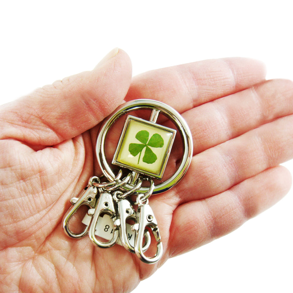 Real Lucky Clover Keychain Round Shaped (KCM18)