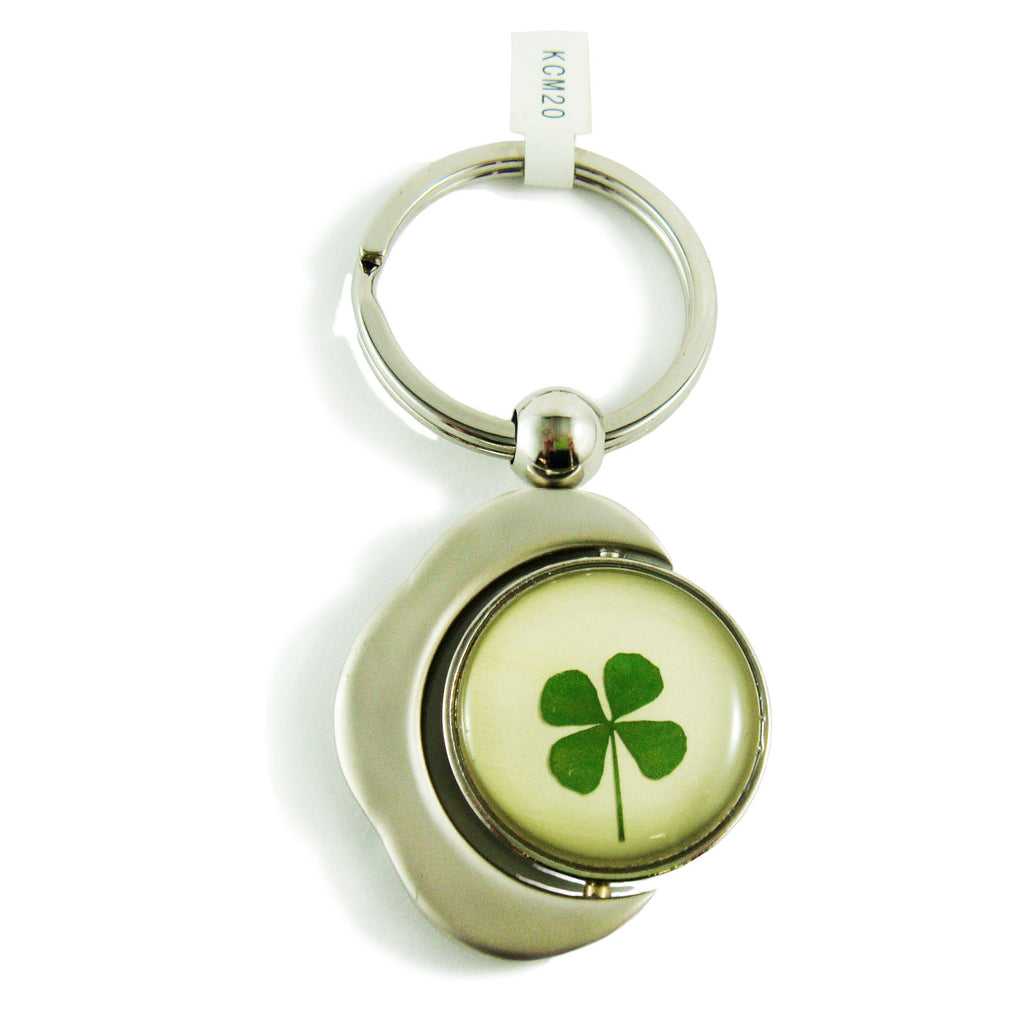 Real Lucky Clover Keychain Crescent Moon Shaped (KCM20)