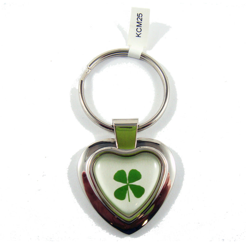Real Lucky Clover Keychain Solid Heart Shaped (KCM25)