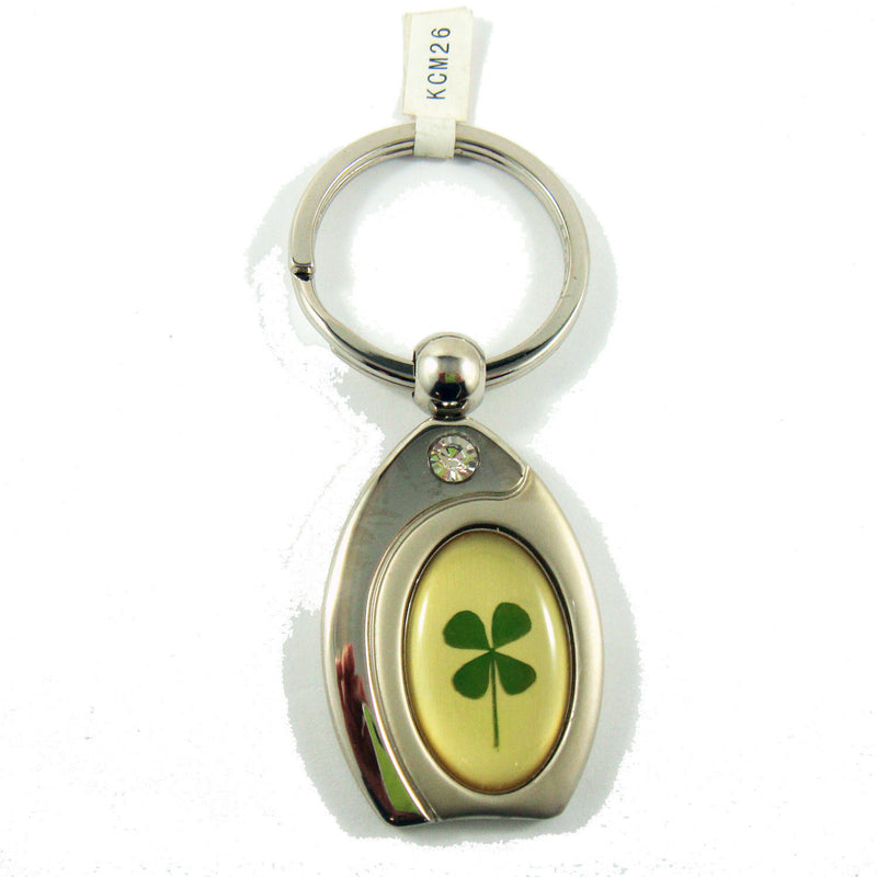 Real Lucky Clover Keychain Oblong Shaped (KCM26)