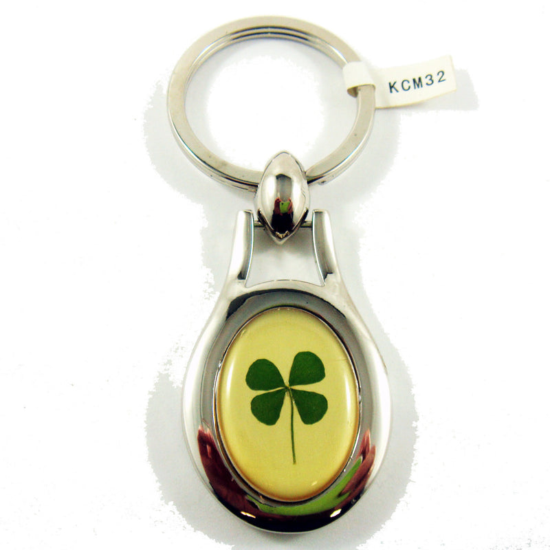 Real Lucky Clover Keychain Oval Shaped (KCM32)