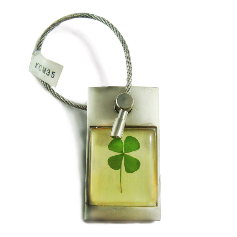 Real Lucky Clover Keychain Square Shaped (KCM35)
