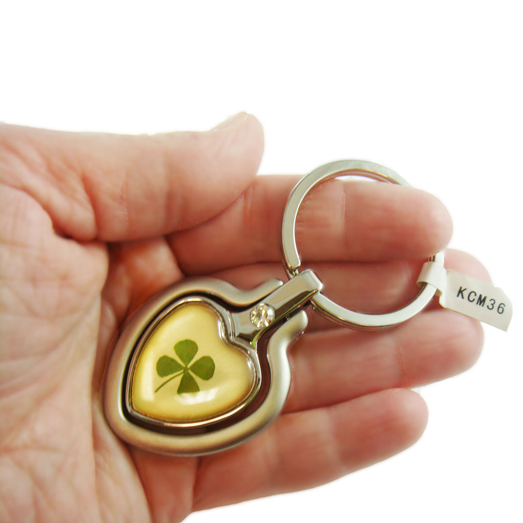 Real Lucky Clover Keychain Double Heart Shaped (KCM36)