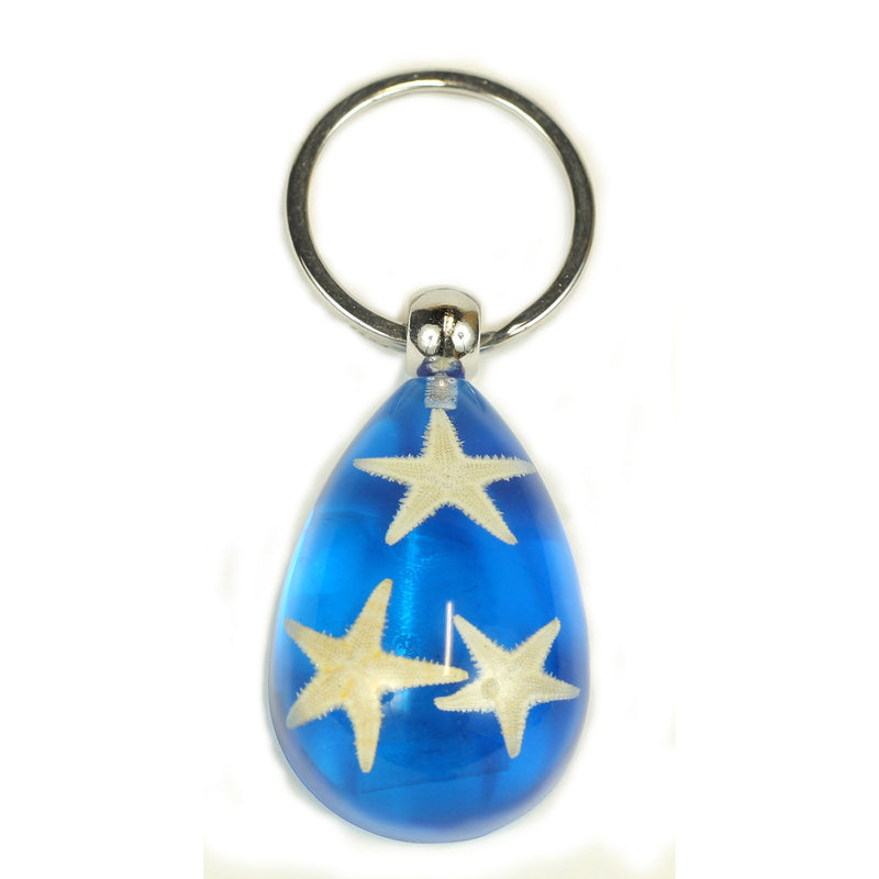 OK101<br />3 Starfish Key Chain Blue