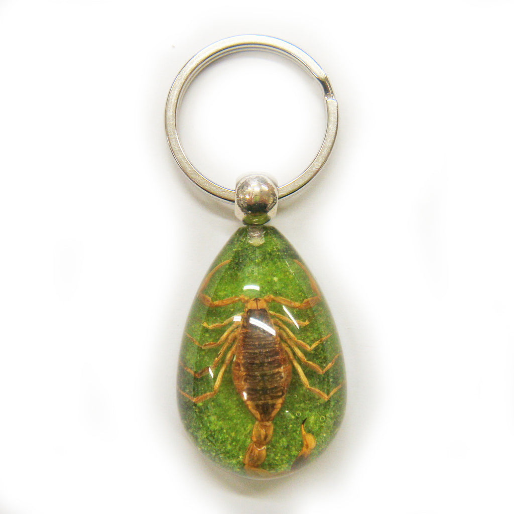 Golden Scorpion Key Chain Green/Black Tear drop (SK094OLD)