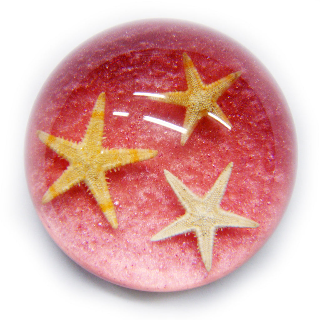 Starfish Dome Paperweight Glitter Pink (T1024)