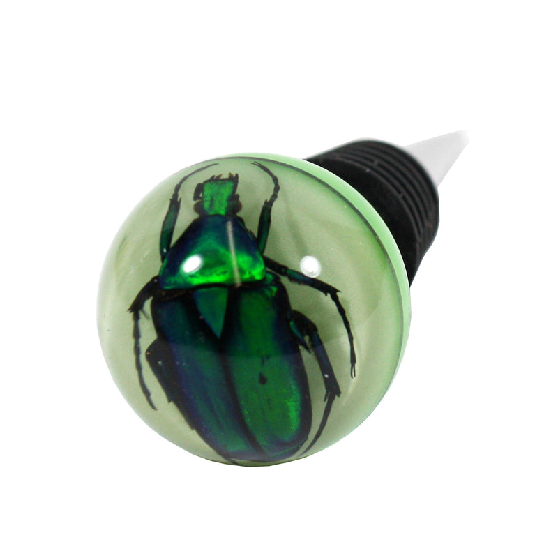 WS1407<br/>Green Chafer Beetle Wine Stopper (glow in the dark)
