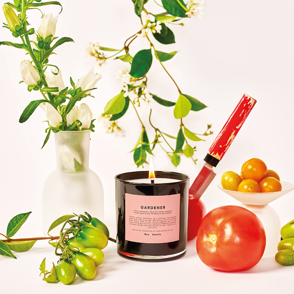 Gardener Scented Candle | scented candle with orange tree bark, tomato juice and hints of honeysuckle nectar | Boy Smells | 5060541100077