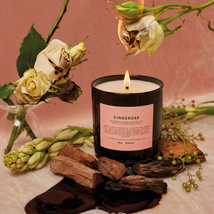 Cinderose Scented Candle | scented candle with a smoky scent and notes of rose, orange blossom and jasmine | Boy Smells | 5060541100077