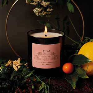 St. Al Scented Candle | scented candle with a well-balanced sandalwood scent with hints of clay, clove flower, oud and ylang-ylang | Boy Smells | 5060541100077