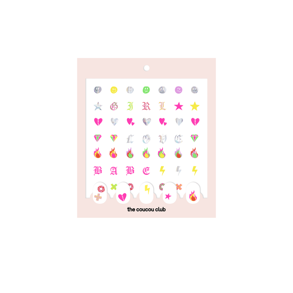 Coucou Nail Art: The Collection | 3 easy nail art sticker sheets to create your own nail art with letters and emojis | The Coucou Club | 8719326353456