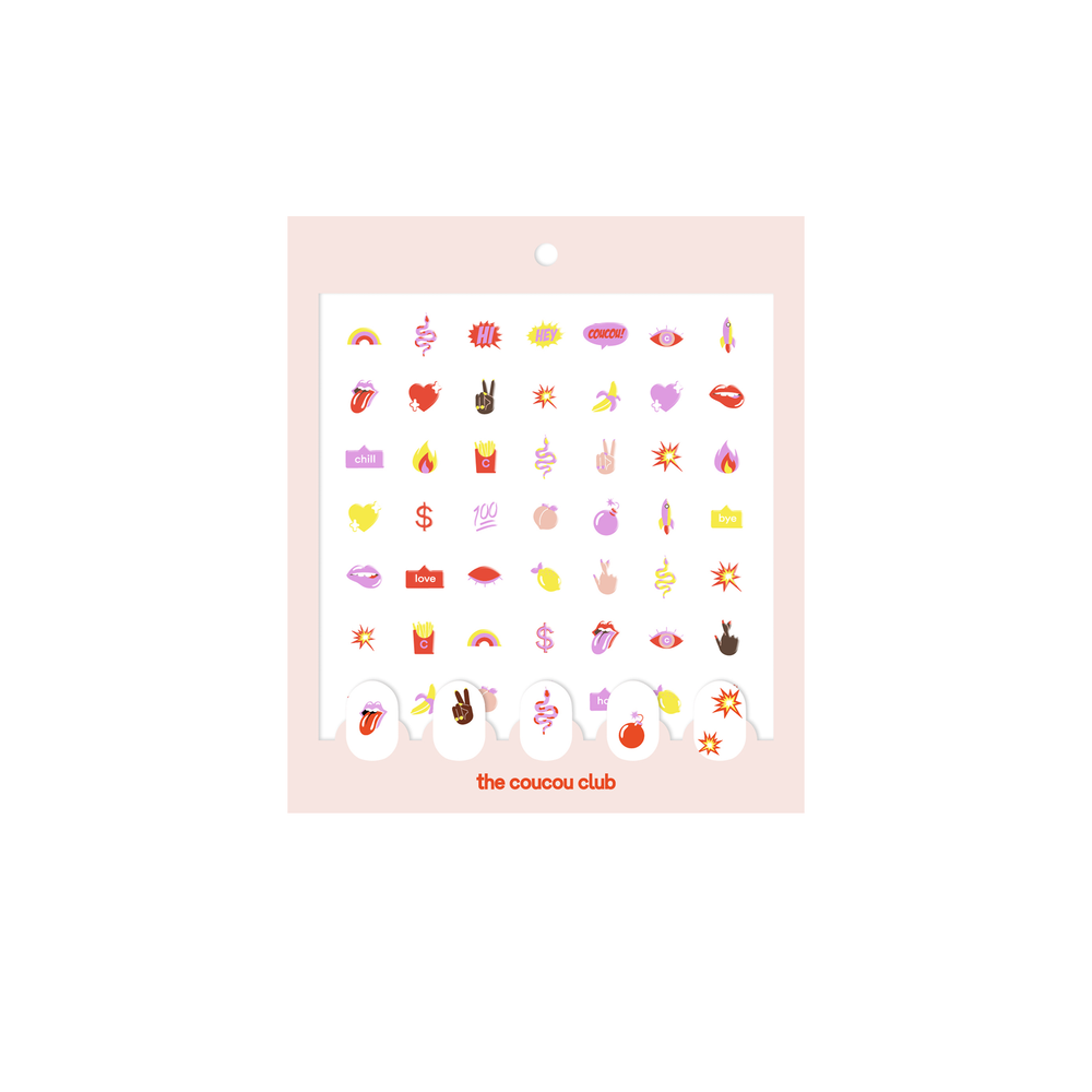 Coucou Nail Art: The Coucou Sheet | Easy nail art stickers to create your own nail art with fun and colorful emojis | The Coucou Club | 8719326353449