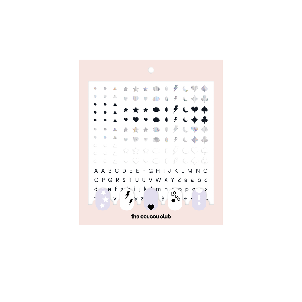 Coucou Nail Art: The Basic Sheet | Easy nail art stickers to create your own nail art with letters and emojis | The Coucou Club | 8719326353432
