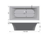 Bergamo 1800 bathtub white standard 1800 x 800 - Didi Bathroomware