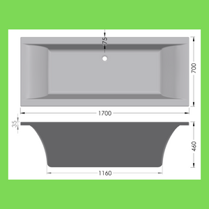 Turin 1700 bathtub white standard 1700 x 700 - Didi Bathroomware