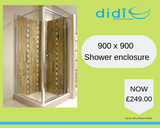 900 x 900 Shower enclosure | Telescopic pivot shower door & side panel - Didi Bathroomware