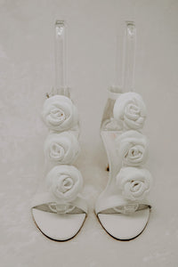 Suede White High Heel Sandals Wedding Shoes for Brides with Removable flower details