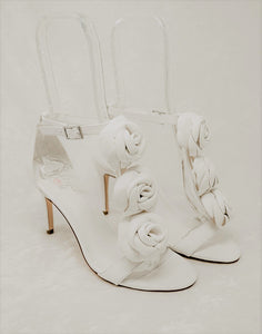 Leather White High Heel Sandals Wedding Shoes for Brides with Removable flower details