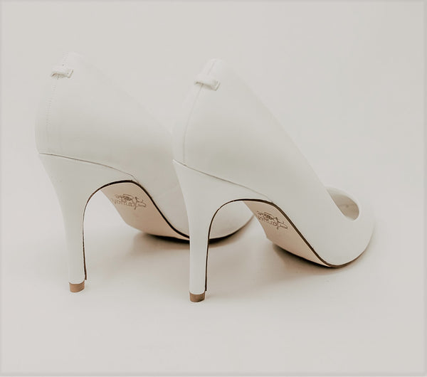 Leather White High Heel Pump Wedding Shoes for  Brides with Removable bow