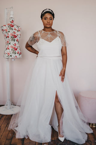 bridal skirt is a full tulle skirt, made up of quite a few layers and a crepe waistband at the top.