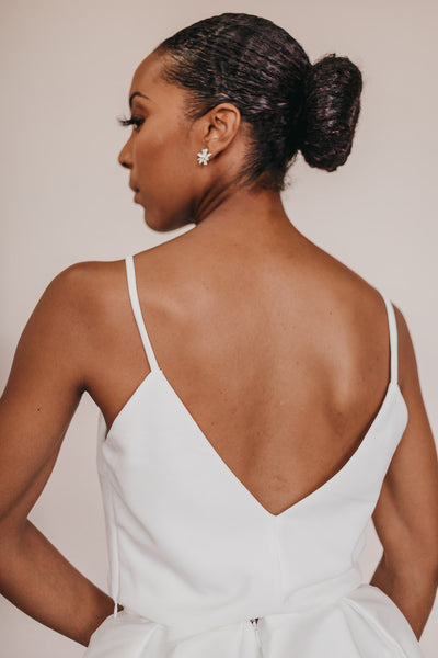 Simple yet elegant slim strap bridal bodice tank