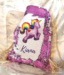 Personalized Purple Unicorn Reversible Sequin Drawstring Backpack