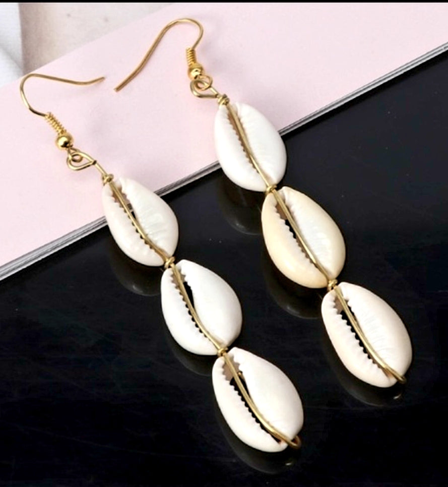 Long Drop Cowrie Shell Earrings