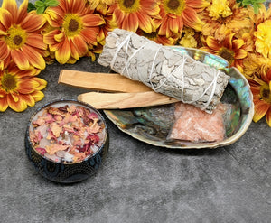 Deluxe Smudge Kit with rose petal smudge and smudge candle - Julys Moon