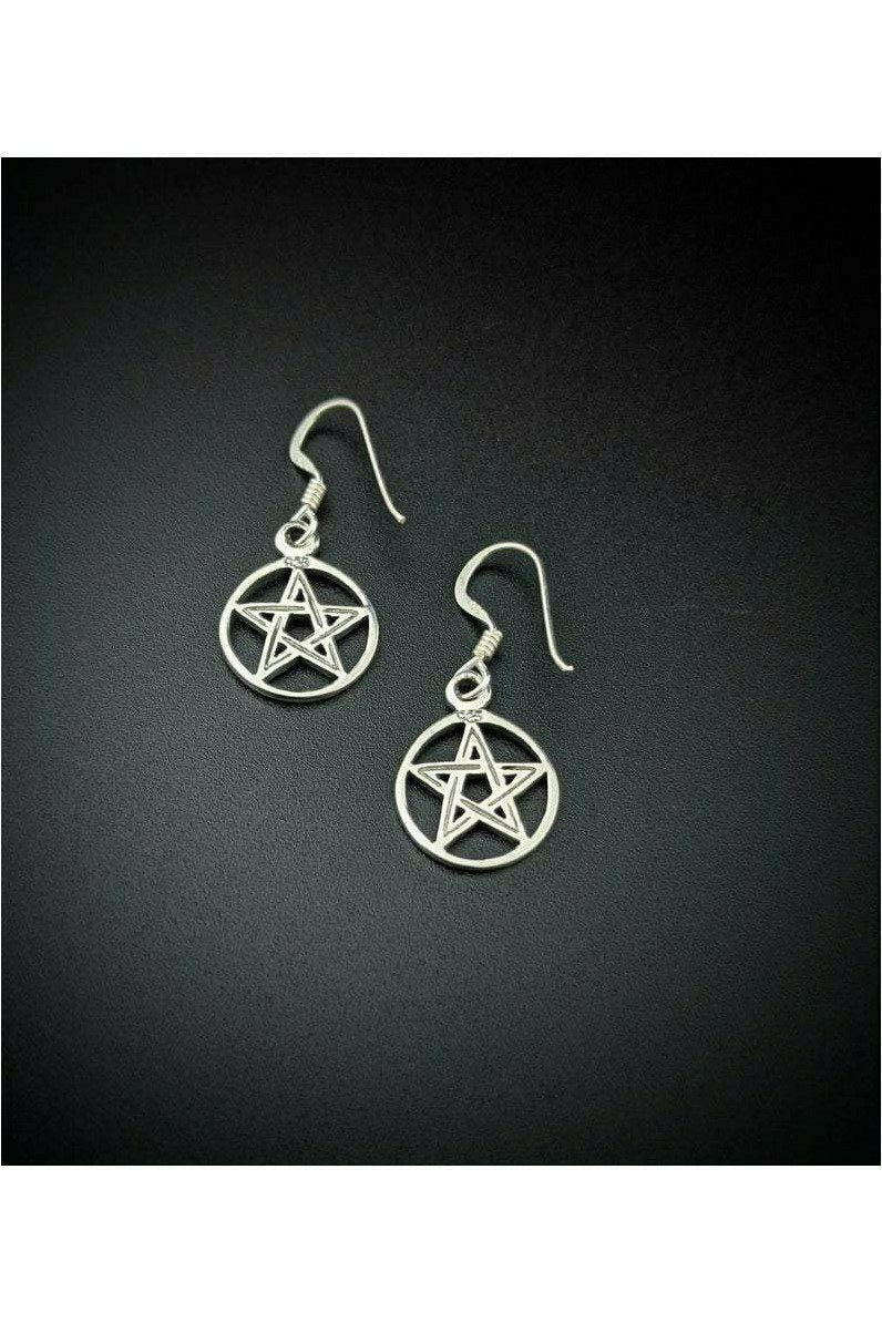Julys Moon sterling silver pentacle earrings