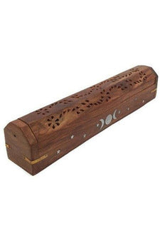 coffin style incense burner with triple moon design from julys moon