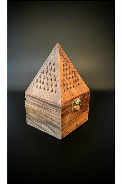 julys moon wood pyramid temple incense burner