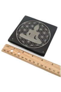 Square incense holder plate with buddha