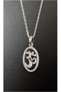 Sterling silver om necklace, om pendant necklace in sterling silver