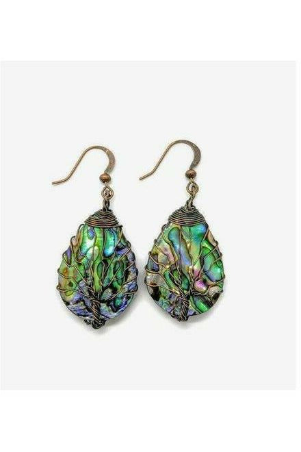 Antique Bronze Abalone Shell Tree of Life Earrings - Julys Moon - Chakra Jewelry