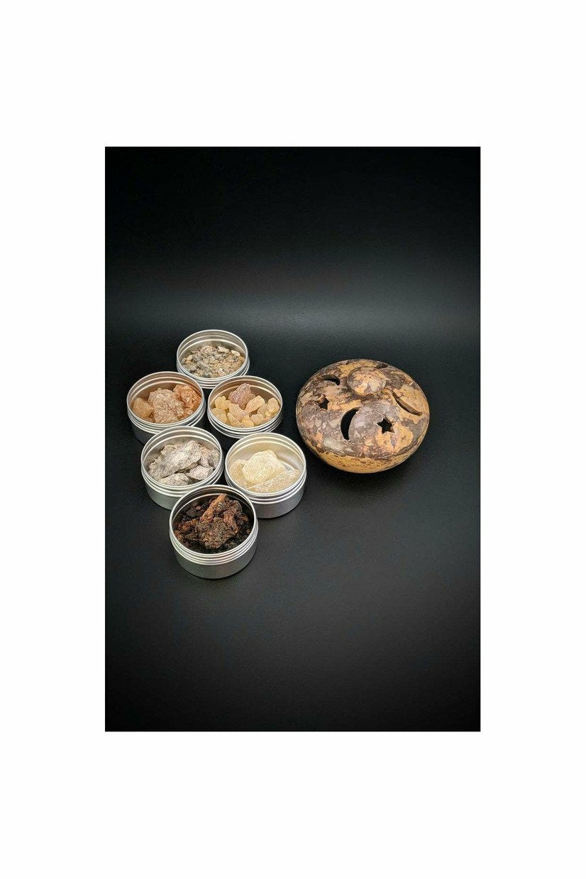 soapstone multi burner with resin incense gift set