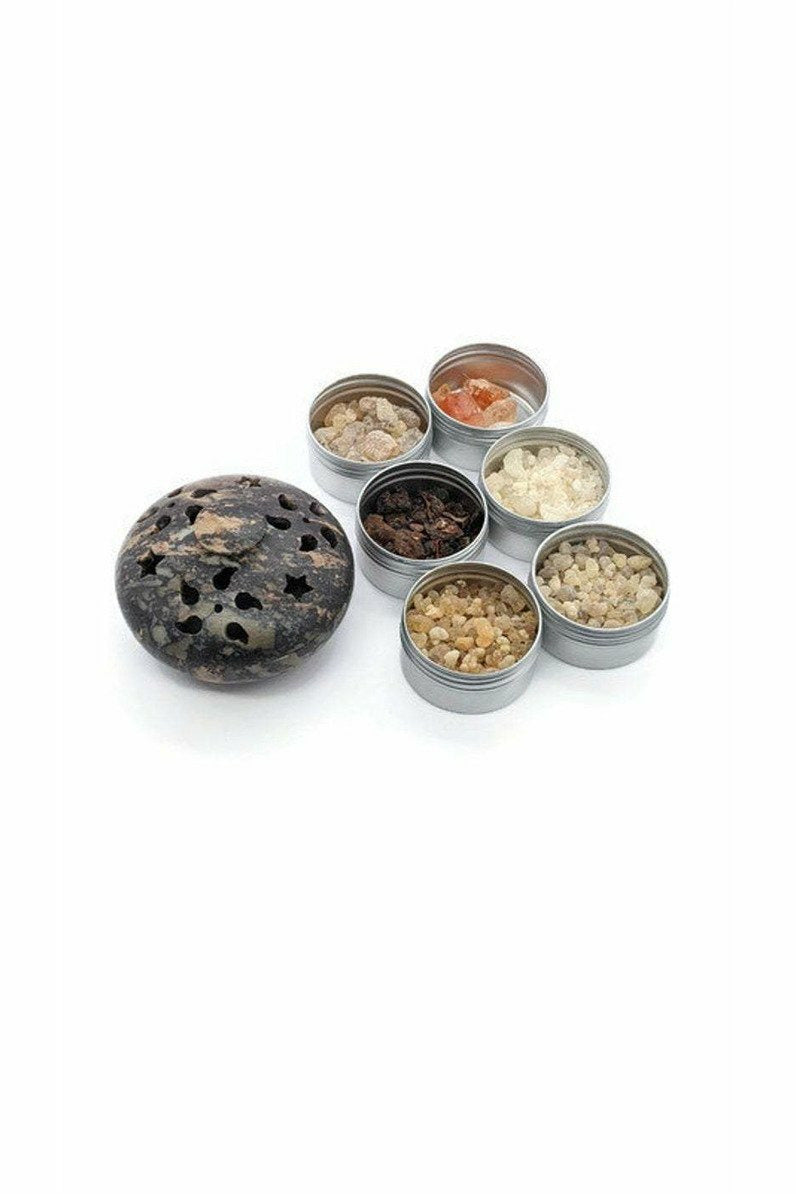 soapstone multi burner with resin incense julys moon