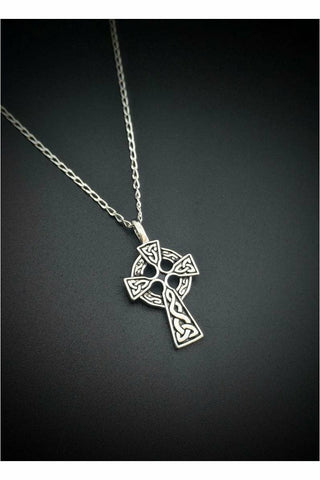 sterling silver celtic design cross necklace - julys moon
