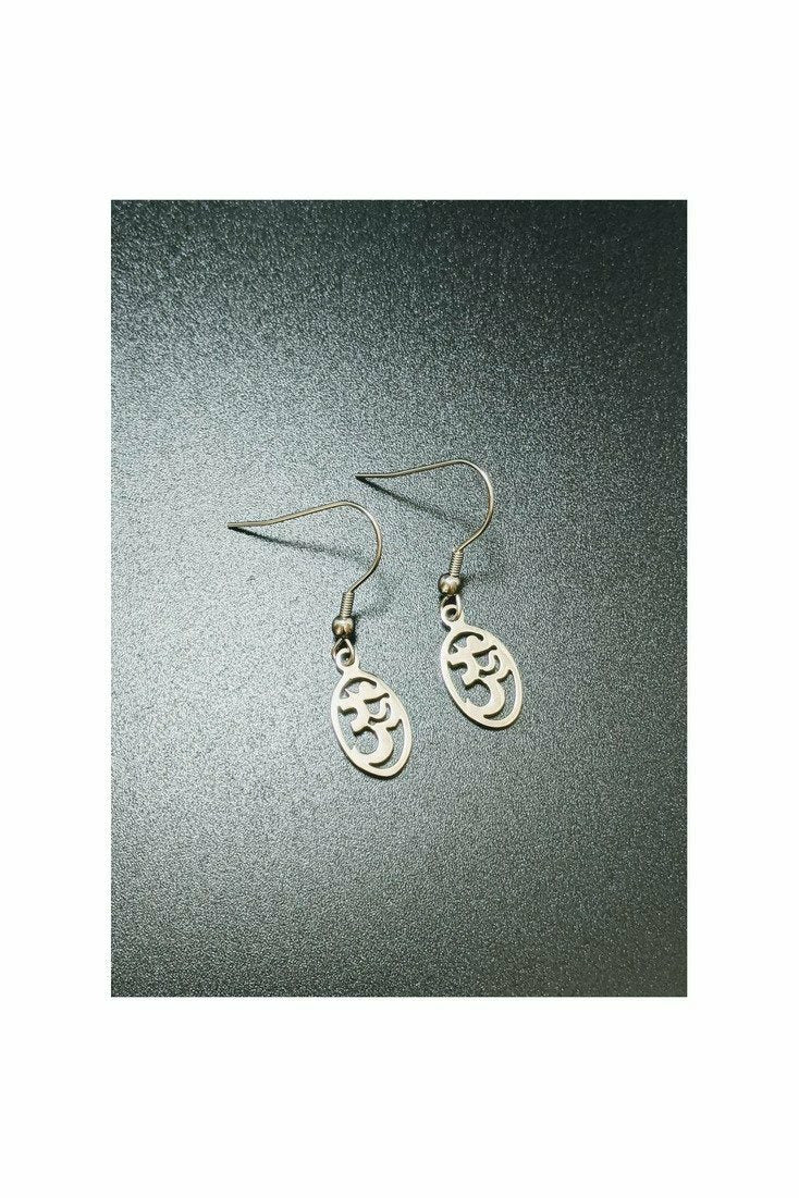 sterling silver om symbol earrings
