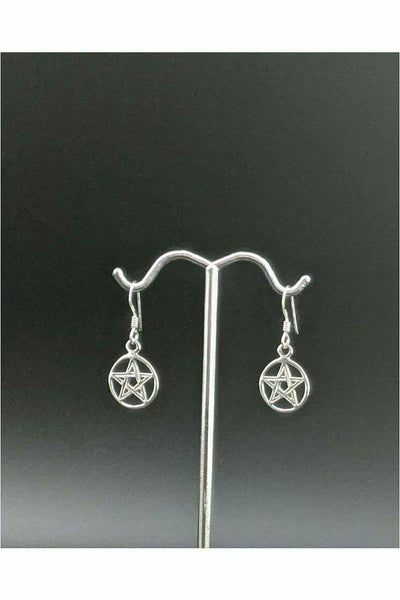 silver pentacle earrings from julys moon