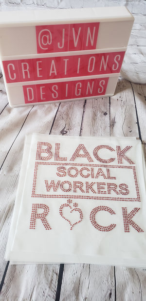 Black Social Workers Rock Rhinestone Transfer Sheet