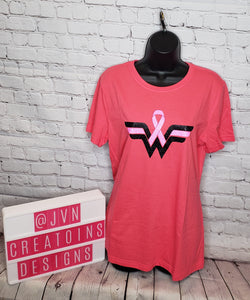 WONDER WOMAN BREAST CANCER LARGE WOMEN'S SHIRT