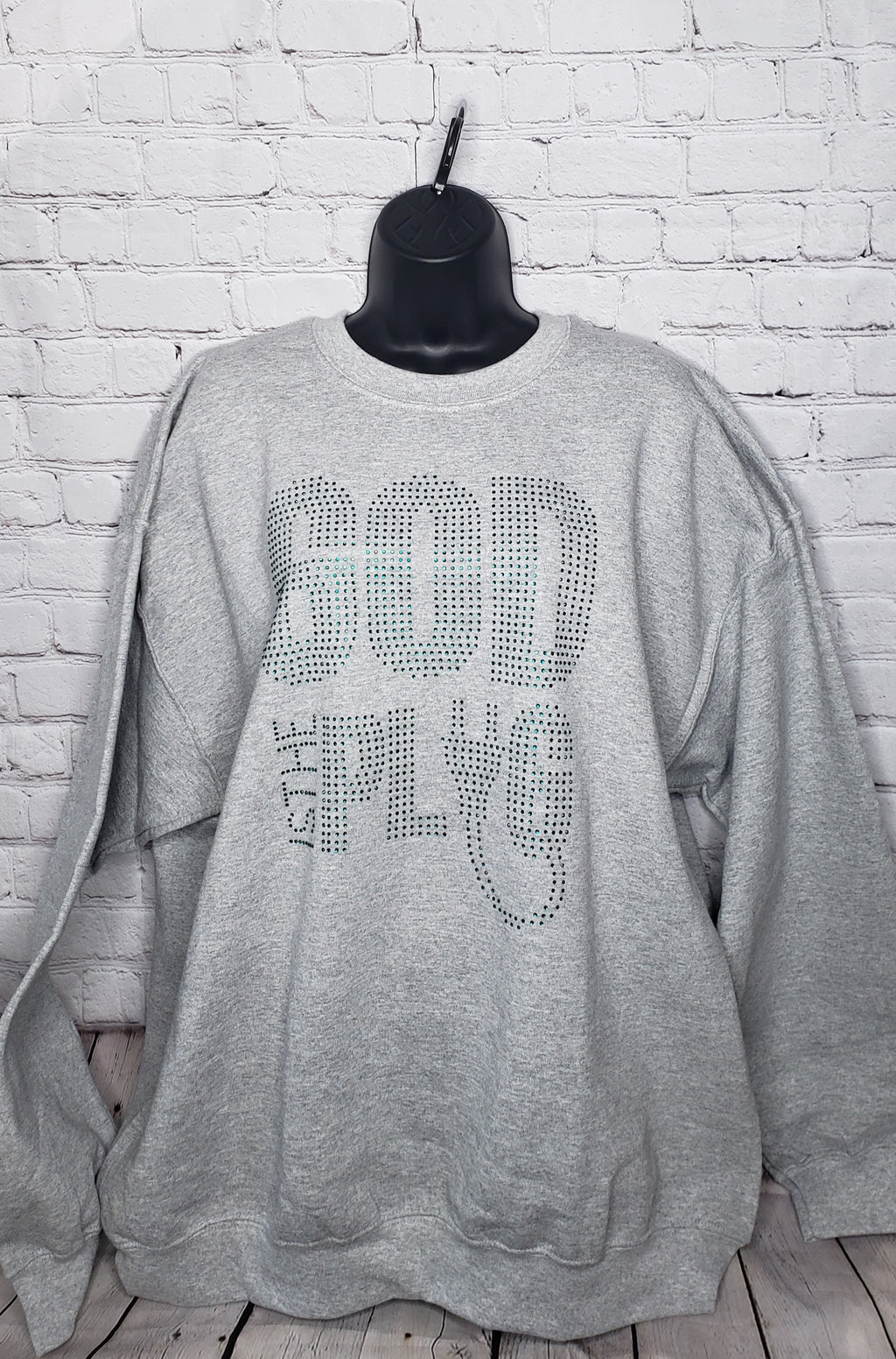 God Is The Plug Rhinestone Sweatshirt- XL Unisex