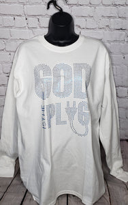God Is The Plug Rhinestone Long Sleeve Shirt- Large Unisex