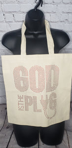 God Is The Plug Rhinestone Tote Bag