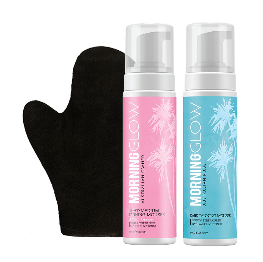 Morning Glow Self-Tan Pack with Light/Medium and Dark Self-Tan Mousse and Mitt