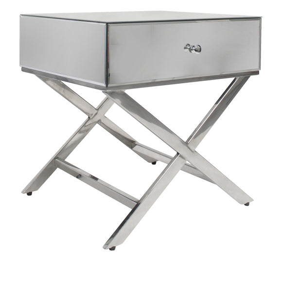 Whitney Crossed Mirrored Bedside Silver