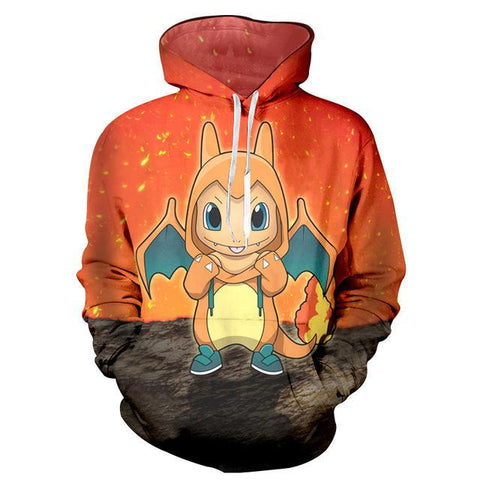 Photo d'un sweat Pokémon Salamèche en dracaufeu