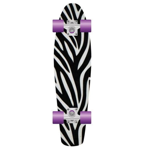 "PROHIBITION Retro Skateboard, 22.5"" Zebra 2"